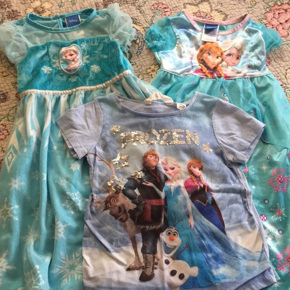 83% off Disney Pajamas Frozen Night Gowns And Tee Lot | Poshmark